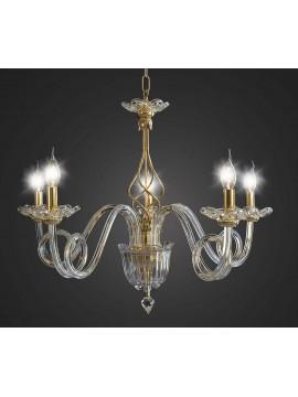 Lampadario cristallo classico oro 5 luci BGA 1671 design swarovsky