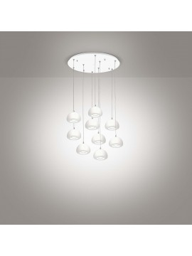 Lampadario a led moderno bianco design 9 luci affra 2041 Bell diodi