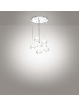 Lampadario a led moderno bianco design 6 luci affra 2040 Bell diodi