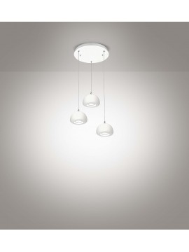 Lampadario a led moderno bianco design 3 luci affra 2039 Bell diodi