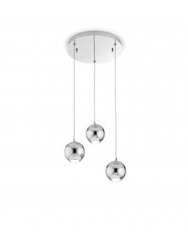 Lampadario a led moderno cromato design 3 luci affra 2034 Bol diodi