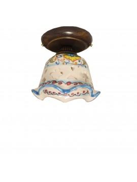 Sicilian ceramic rustic ceiling light 1 light Fiore d.15