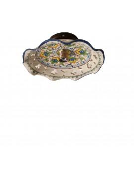 Plafoniera spot rustico in ceramica siciliana 1 luce Fiore d.30