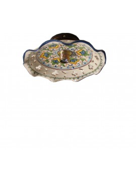 Sicilian ceramic rustic ceiling light 1 light Flower d.30