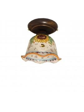 Plafoniera spot rustico in ceramica siciliana 1 luce Anita d.15