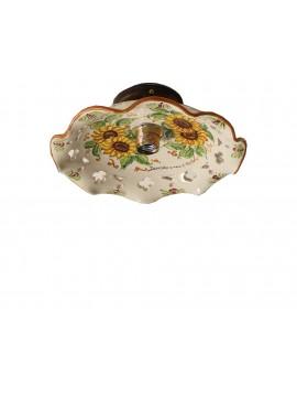 Plafoniera spot rustico in ceramica siciliana 1 luce Anita d.30