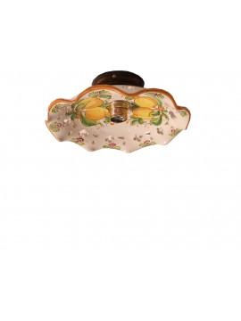 Plafoniera spot rustico in ceramica siciliana 1 luce Limoni d.30