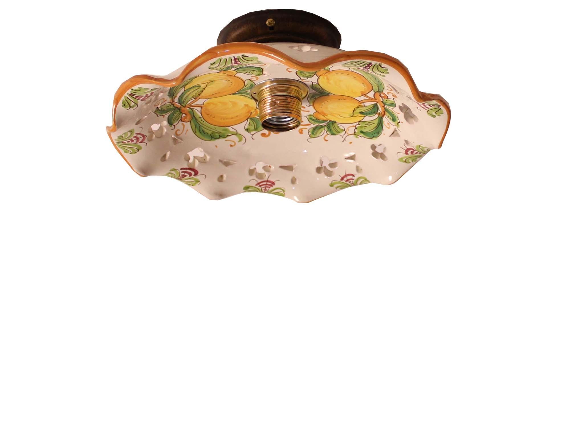 Plafoniera Rustica : Plafoniera spot rustico in ceramica siciliana luce limoni d