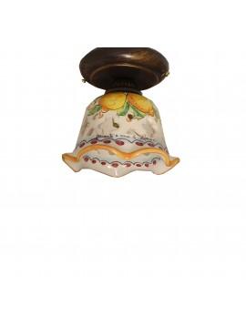 Plafoniera spot rustico in ceramica siciliana 1 luce Limoni d.15