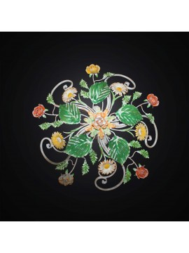 Plafoniera in ferro battuto con rose e fiori primavera 4 luci BGA 2911/60