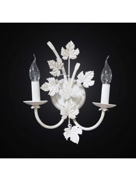 Antique white wrought iron wall light 2 lights BGA 2785 / A2