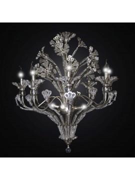 Lampadario in ferro battuto foglia argento e cristallo 8 luci BGA 2782/8