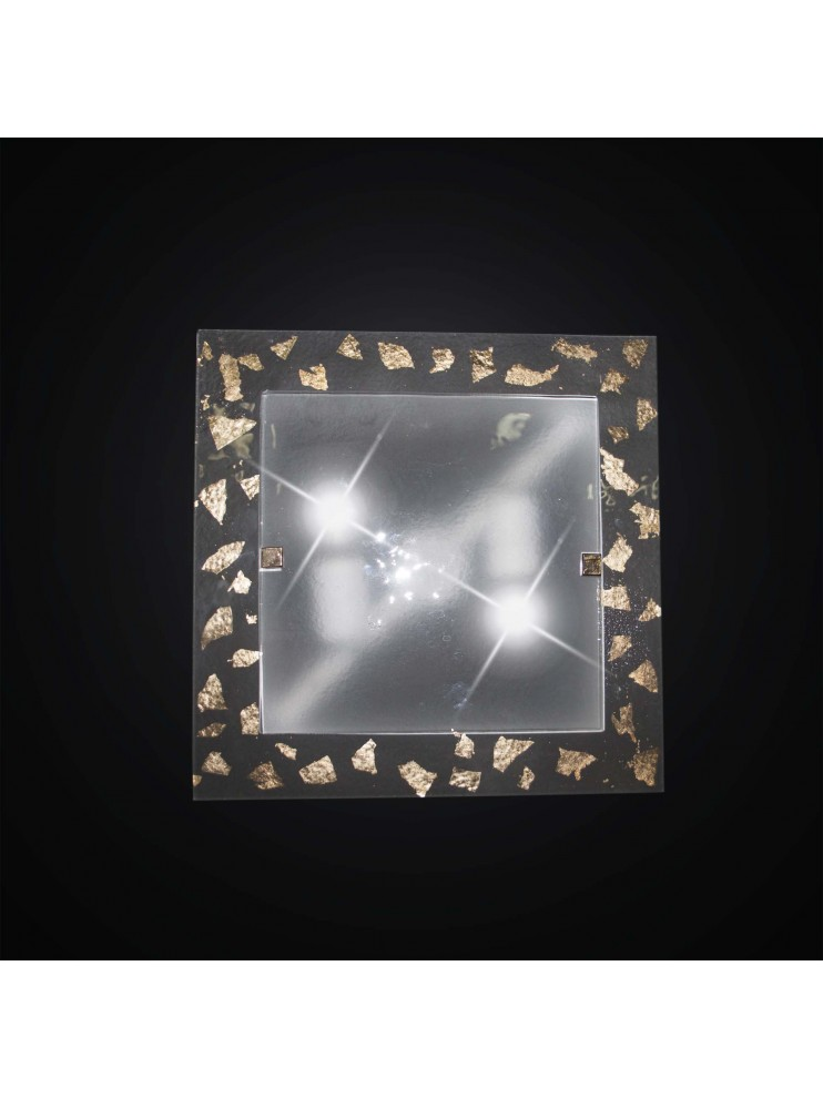 Classic ceiling lamp in gold leaf glass fusion 2 lights BGA 2948 / PL35