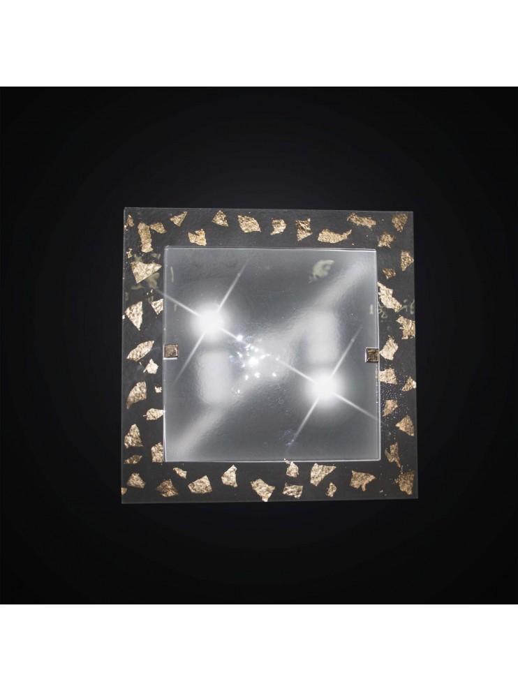 Plafoniera classica in vetrofusione foglia oro 2 luci BGA 2948/PL35