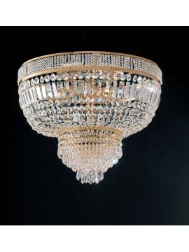 Plafoniera classica in cristallo oro 12 luci Praga d.85