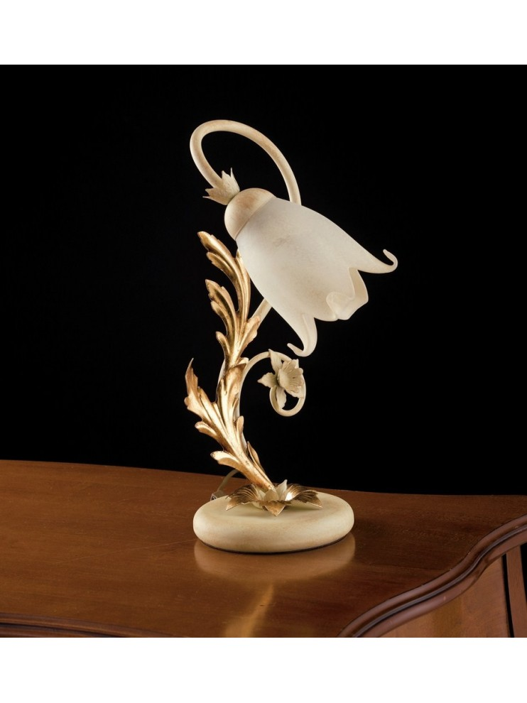 Table lamp light wrought iron ivory-gold art. LP120