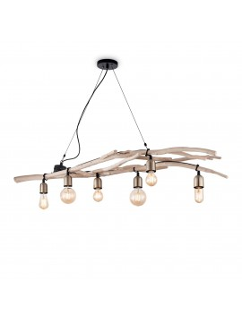 Lampadario rustico vintage con rami 6 luci Driftwood sp6