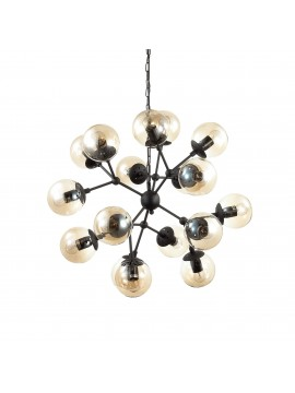 Lampadario vintage nero opaco 18 luci kepler sp18