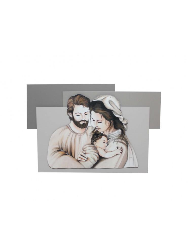 Capezzale quadro moderno 60x90 pannelli in legno sacra famiglia 10620-2