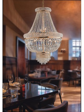 Lampadario classico oro con cristalli 9 luci LGT Praga sp9 D.65cm swarovsky