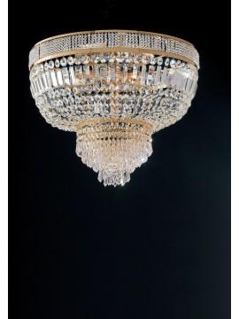 Classic gold ceiling light with 4 lights crystals LGT Prague pl4 D.45cm