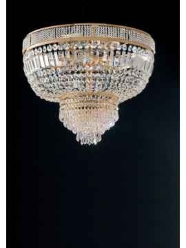 Crystal classic ceiling light gold 6 lights LGT Prague pl6 D.55cm