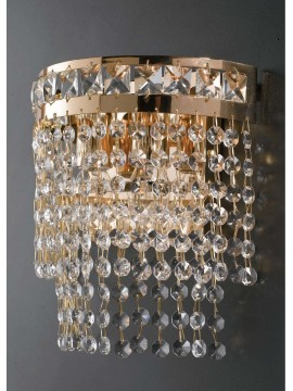 Classic gold wall light with 1 light crystals LGT Atene ap1, shiny gold metal structure with particular and elegant pendants in