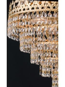 Lampadario classico oro con cristalli trasparenti 7 luci LGT Impero sp7