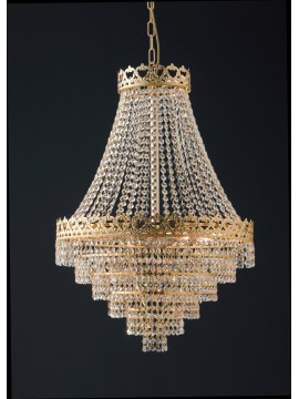 Lampadario classico oro con cristalli trasparenti 9 luci LGT Impero sp9