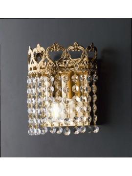 Applique classico oro con cristalli trasparenti 1 luce LGT Impero ap d.20