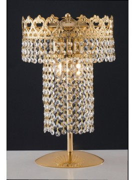 Classic gold table lamp with transparent crystals 2 lights LGT Impero lg
