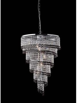 Lampadario moderno in cristallo trasparente e nero 6 luci LGT Vienna sp6