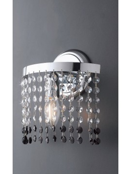 Modern wall lamp in transparent and black crystal 1 light LGT Vienna ap1