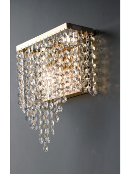 Classic gold wall lamp with transparent crystals 1 light LGT Paris ap1