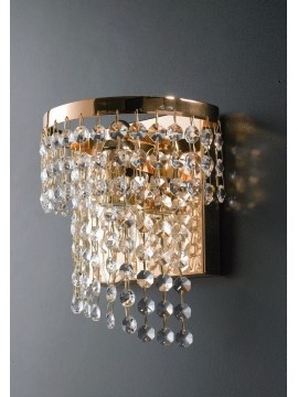 Gold modern wall light with transparent crystals 1 light LGT Oslo ap1
