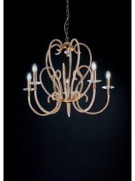 Lampadario classico oro con perle in cristallo 5 luci LGT Perla sp5