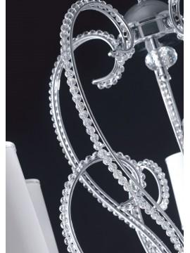 Lampadario moderno cromato con perle in cristallo 5 luci LGT Perla sp5