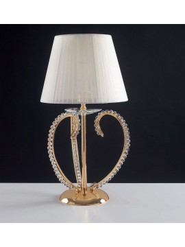 Classic gold table lamp with crystal pearls 1 light LGT Perla lp