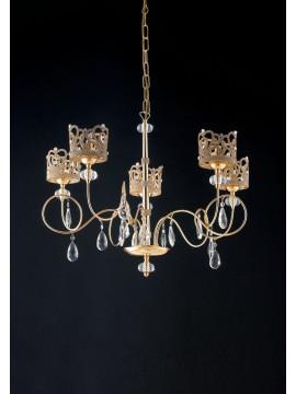 Lampadario classico oro con strass e cristalli 5 luci LGT Queen sp5