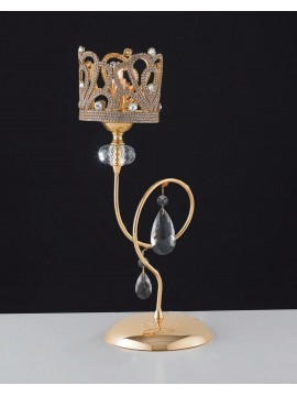 Classic gold table lamp with rhinestones and crystals 1 light LGT Queen lp