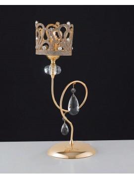 Lumetto classico oro con strass e cristalli 1 luce LGT Queen lp