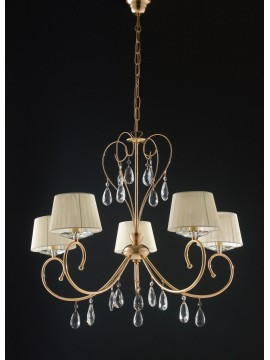 Lampadario oro classico con cristalli a 5 luci LGT Vegas sp5