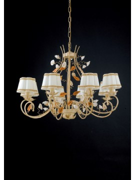 Classic wrought iron chandelier with roses 8 lights LGT Bouquet sp8