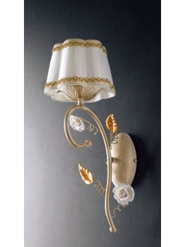 Applique classico in ferro battuto con rose 1 luce LGT Bouquet ap1