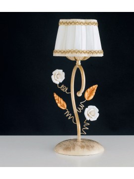 Classic table lamp in wrought iron with roses 1 light LGT Bouquet lp