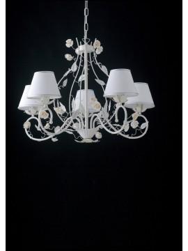 Contemporary chandelier with roses 5 lights LGT Bouquet sp5 white