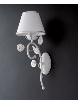 Applique contemporaneo con rose 1 luce LGT Bouquet ap1 bianco