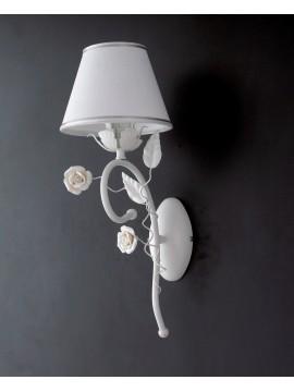 Applique contemporaneo con rose 1 luce LGT Bouquet ap1 bianco