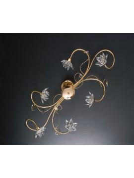 Plafoniera moderna oro con cristalli 6 luci LGT Teo pl6