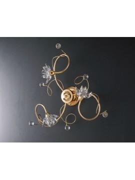 Plafoniera moderna oro con cristalli 3 luci LGT Teo pl3